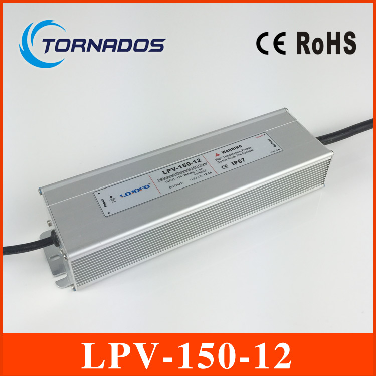 150W 12V 12.5A LED constant voltage waterproof switching power supply IP67 LPV-150-12 120w 48v 2 5a led constant voltage waterproof switching power supply ip67 for led drive lpv 120 48