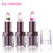 by nanda Brand Transparent Natural Red Lip Stick Temperature Color Change Long-lasting Moisturizer Flower Jelly Lipsticks Makeup