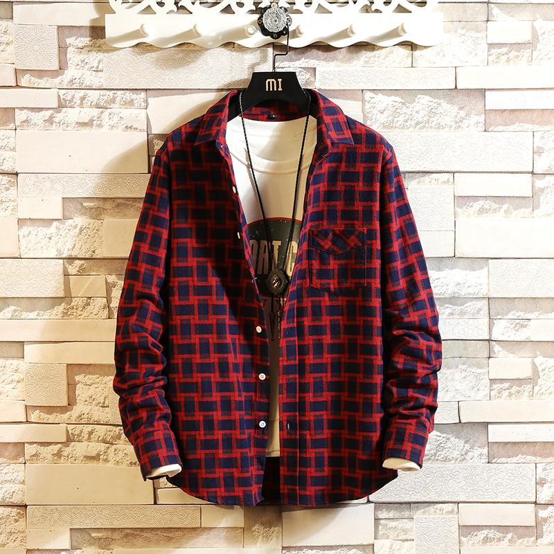 2019 New Fashion Men Autumn Leisure Pure Cotton Long Sleeve Shirts/Man Hip-hop Style Lapel Slim Fit Breathable Plaid Shirts 3XL