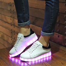 2016 winter new high top shoes for Led glowing bright adult women casual with USB charging rechargeable light shoe