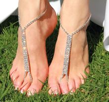 10x 2016 Barefoot beach sandals Bridal wedding diamante anklet foot jewellery jewelry