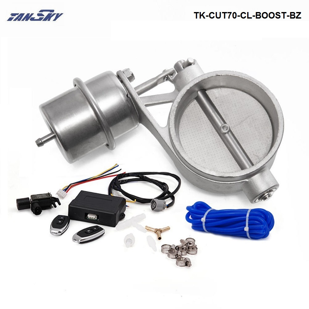 цена на Exhaust Valve With Boost Actuator Cutout 70mm Pipe CLOSED with Wireless Remote Controller Set TK-CUT70-CL-BOOST-BZ