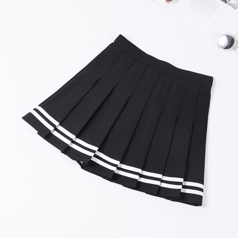 New Mini Women's Casual Striped Print Pleated School Skirt With Inner Shorts