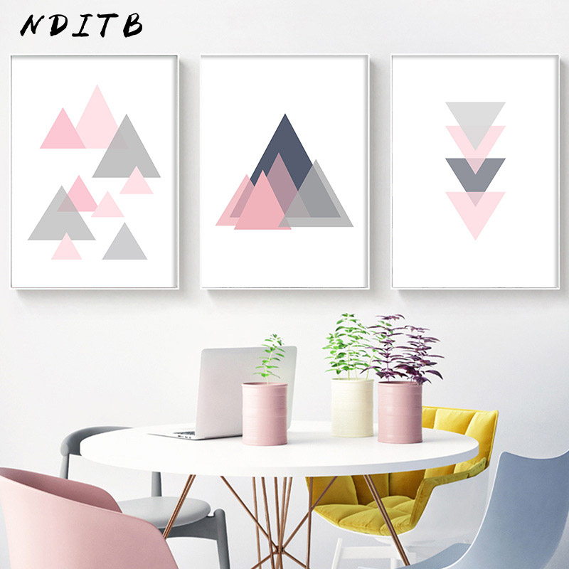 Decor Rose Pink Feather Print Set Minimalist Pictures for Living Dining Room