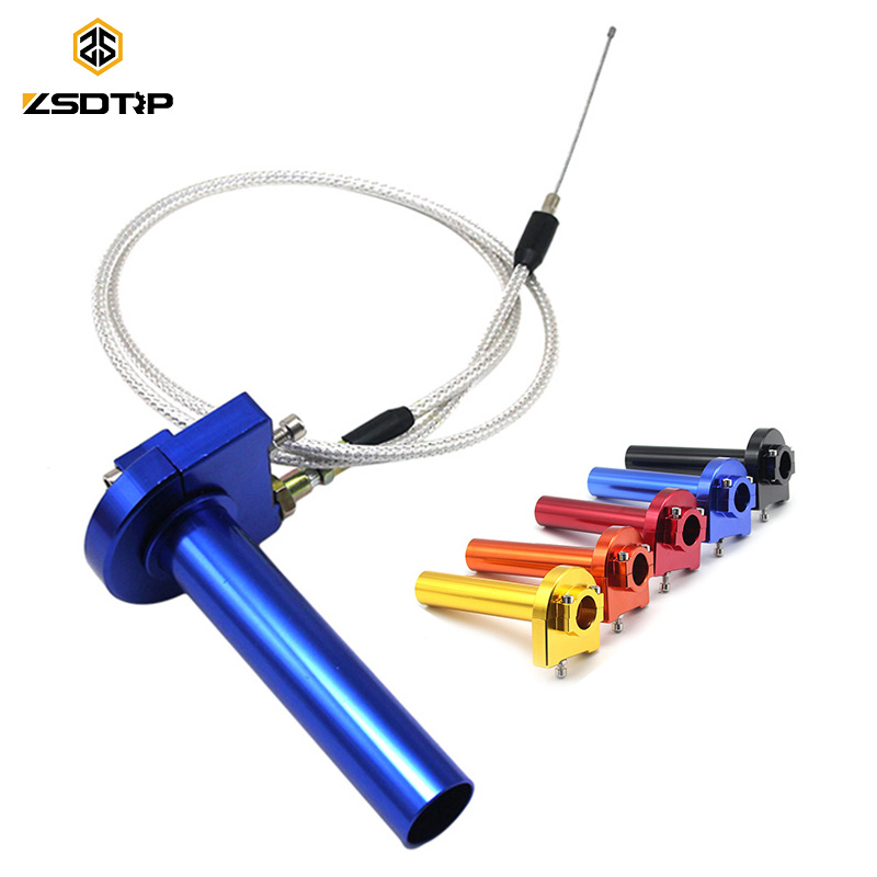 ZSDTRP Dirt Pit Bike Motocross CNC Aluminum Throttle Grip + Throttle Cable 22mm Quick Twister Motorcycle Modified Spare Parts beler motorcycle motocross push pull throttle cable assembly assy fit for yamaha pw80 1985 2007 bw80 1986 1990 dirt motor bike