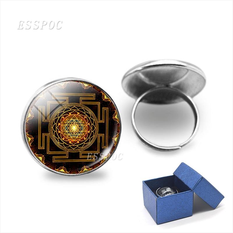 Sri Yantra Buddhist Ring Resizable Sacred Geometry Spiritual Faith Jewelry Wholesale Rings