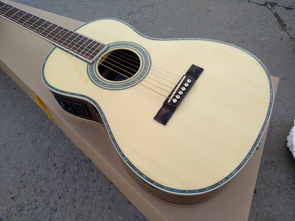 free shipping acoustic guitar 00 solid spruce parlor acoustic guitar OOO body AAA quality guitars acoustic