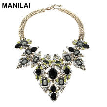 MANILAI Bohemia Vintage Chain Rhinestones Exaggerated Flower Design Necklaces & Pendants Statement Necklaces For Women Brand(China)