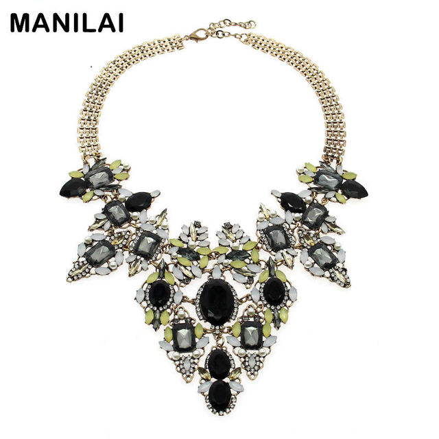 MANILAI Bohemia Vintage Chain Rhinestones Exaggerated Flower Design Necklaces & Pendants Statement Necklaces For Women Brand