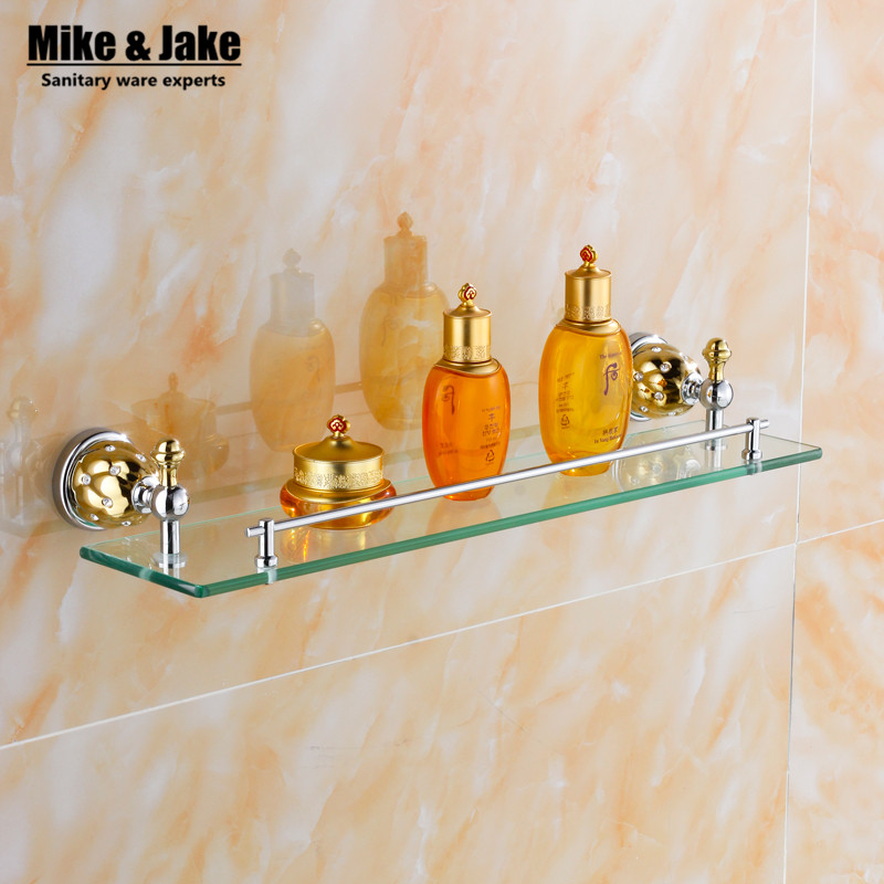 купить Bathroom Accessories Solid Brass chrome golden Finish glass shelf With Tempered Glass,Single Glass Shelf bathroom shelf MC67313 недорого