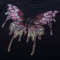 Grote kleurrijke vlinder hot fix strass motief ontwerpen ijzer op crystal transfers ontwerp applique patches strass