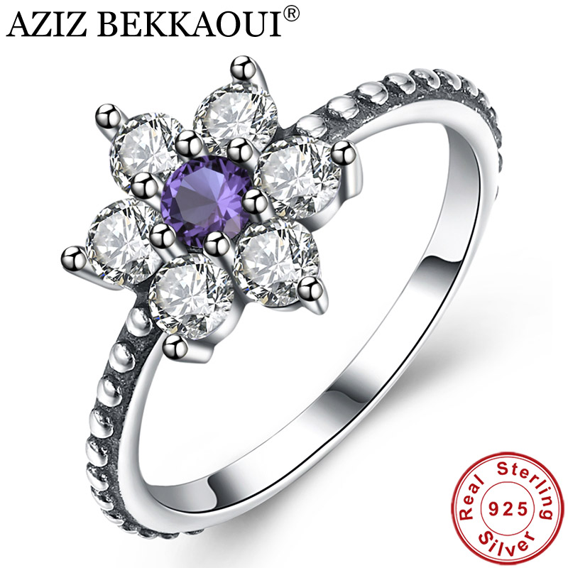 Finger-Ring Jewelry Wedding-Promise 925-Sterling-Silver Purple Women Clear for Gift AZIZ