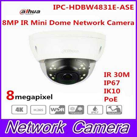 Original Dahua English version IPC-HDBW4831E-ASE 8MP POE IR mini dome network camera CCTV IP camera with IK10 IP67 Mic built in free shipping dahua cctv camera 4k 8mp wdr ir mini bullet network camera ip67 with poe without logo ipc hfw4831e se