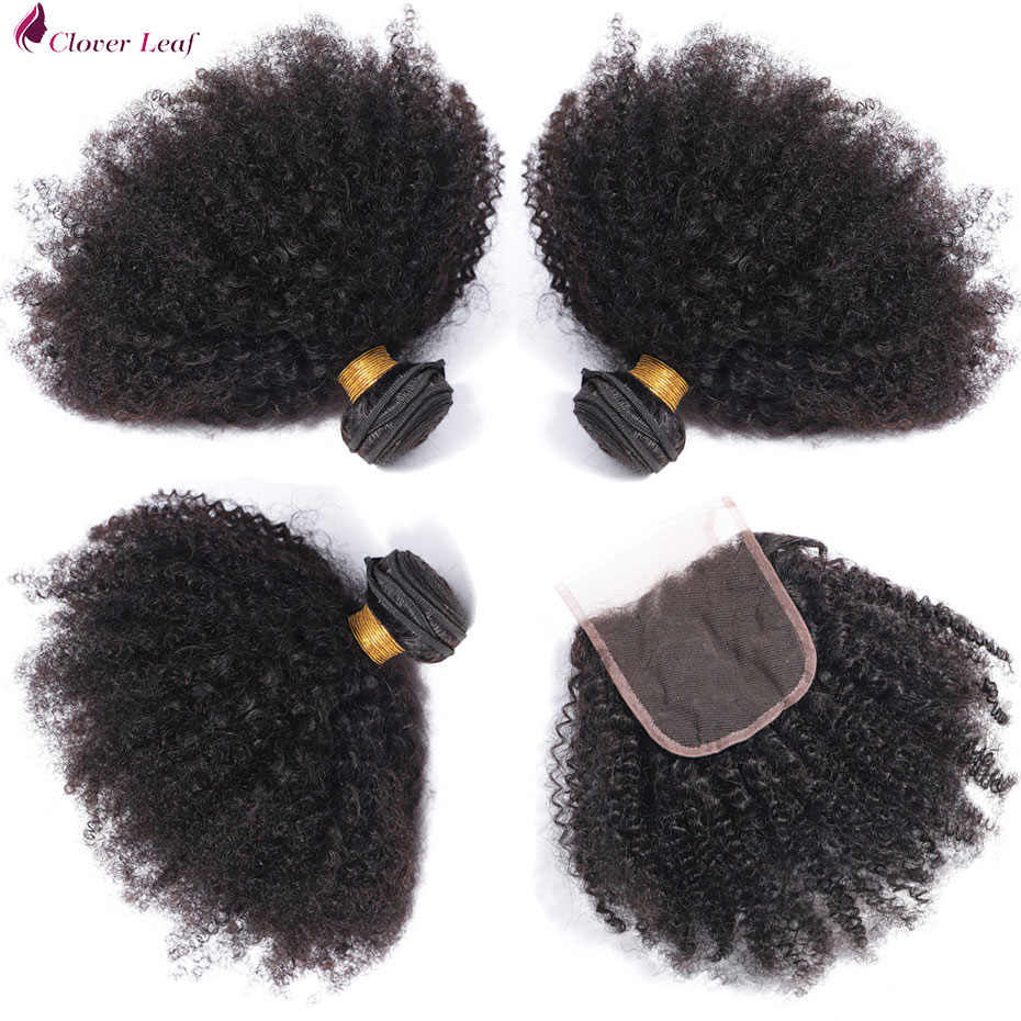 Clover Leaf 3 Bundles With Closure Peruvian hair weave Human Hair Afro Kinky Curly Hair Bundles With 4*4 Lace Closure Remy Hair