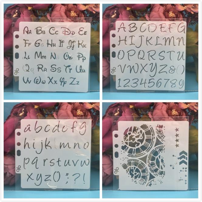 4Pcs/Set 14cm Alphabet Letters Gear DIY Layering Stencils Painting Scrapbook Coloring Embossing Album Decorative Card Template