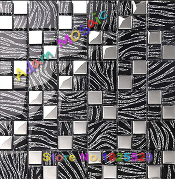 Zebra Kitchen Decor: Metallic Glass Silver Tile Black Zebra Mosaic Tiles