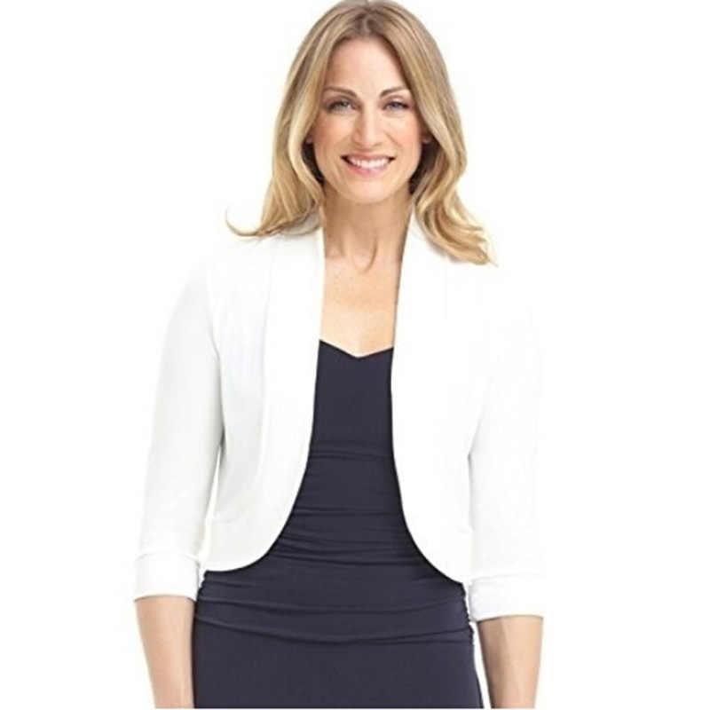Feminino curto encolher superior tamanho grande XL-5XL outono 3/4 manga cortada bolero festa grande camisola feminina cardigan tamanho grande