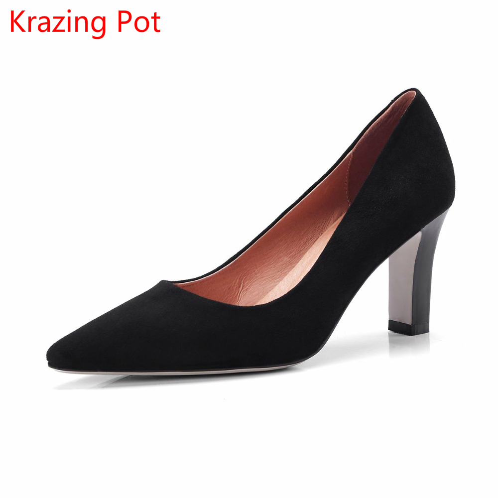 2018  Fashion Brand Spring Shoes Kid Suede High Heels Slip on Women Pumps Pointed Toe Shallow Concise Nude Office Lady Shoes L9 fashion brand slip on shallow round toe crystal bowtie med diamond thick heels women pumps sweet office lady runway shoes l15