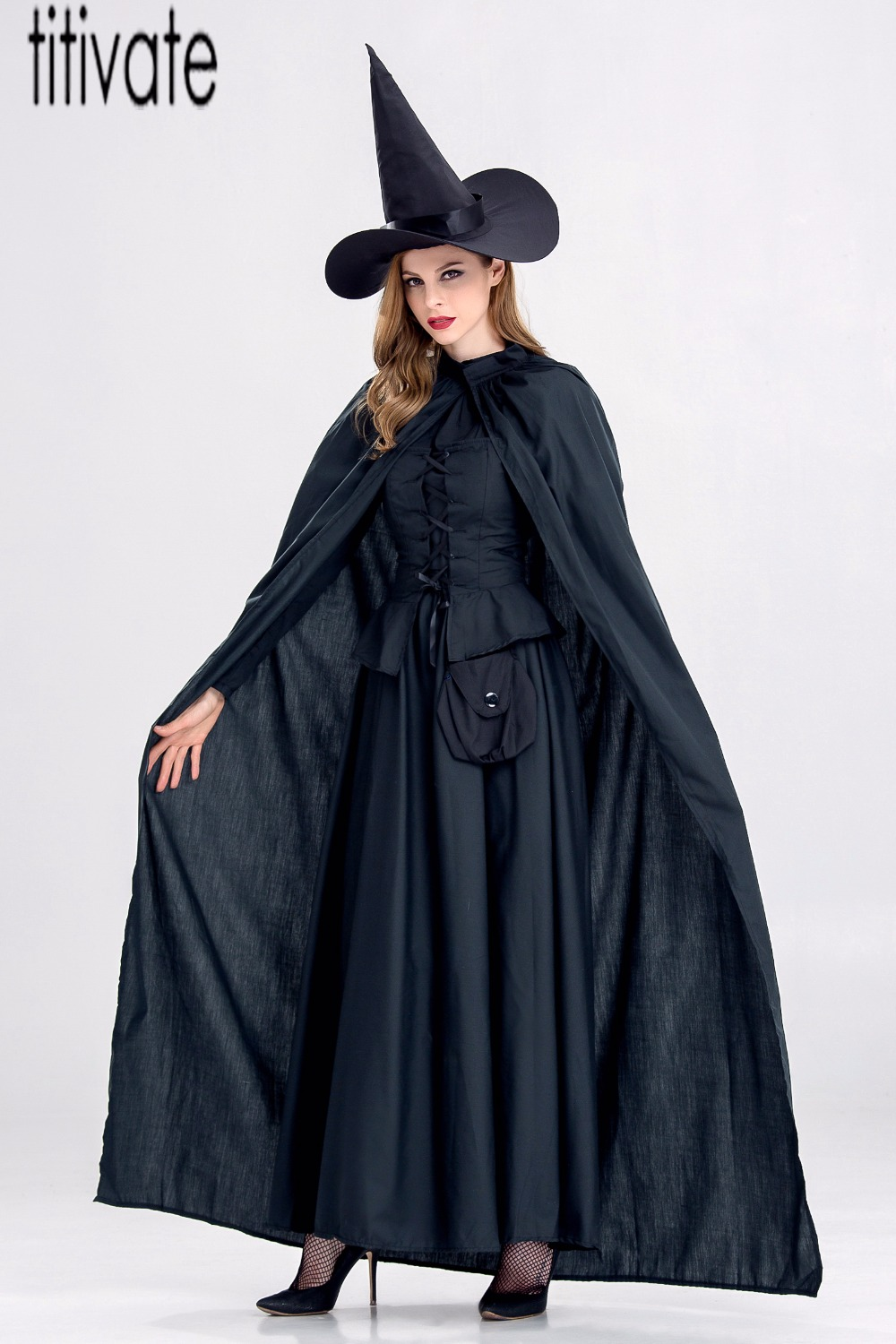 TITIVATE Gothic Witch Sorceress Halloween Costume Black Wicked Witch Cosplay Hen Party Fancy Dress Costumes Outfit For Women