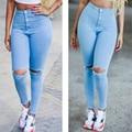 Denim Pants Girls Fashion Boyfriend Hole Solid Trousers Full Length Leggings High Waist Skinny Pants Women Light Blue Bottoms
