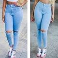 Pantalones vaqueros Chicas Novio Moda Agujero Sólido Pantalones Encuadre de cuerpo entero Leggings De Talle Alto Flaco Pantalones Mujer Pantalones Azul Claro