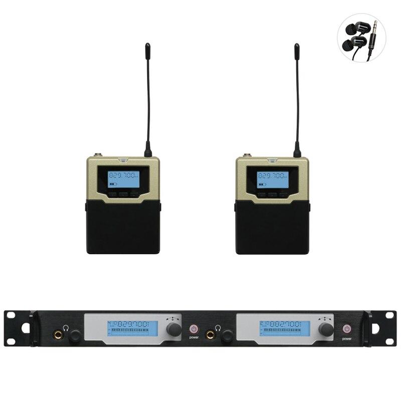 Профессиональная беспроводная система для ушей UHF PLL, 2 передатчика, 2 приемника, обновленный беспроводной мониторинг SR2050