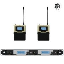 In ear monitor system Professional UHF PLL Sem Fio No Ouvido Monitor de 2 Transmissor 2 Receptores Atualizado SR2050 de monitoramento sem fio