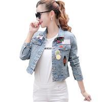 Harajuku Women Patches Jeans Jacket Appliques Denim Jackets Women fashion badge short design jacket a302