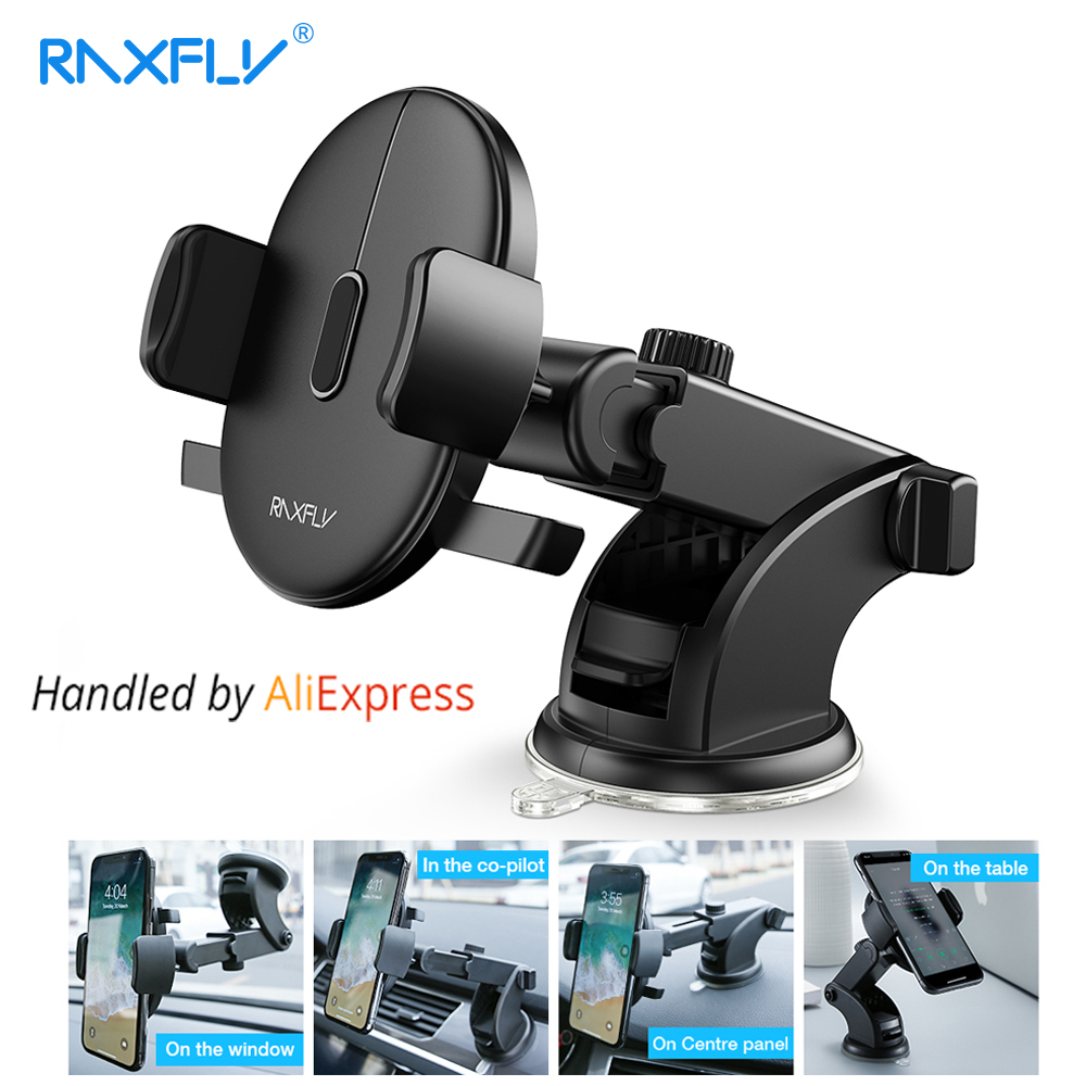 RAXFLY Windshield Mount Car Phone Holder For Phone in Car For Samsung S9 360 Rotation Car Holder For iPhone Phone Stand Support 90 corner clamp shopify