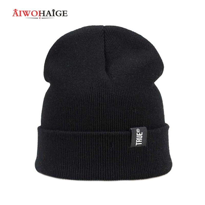 2019 Letter True 8 Colors Casual Beanies For Men Women Fashion Knitted Winter Hat Solid Hip-hop Skullies Hat Bonnet Unisex Cap