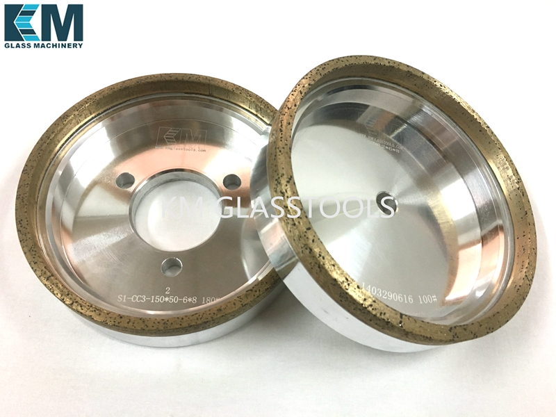 KM Good quality Diamond Cup Wheel continuous 150xd 6 or8 x8mm for Glass Straight line edging