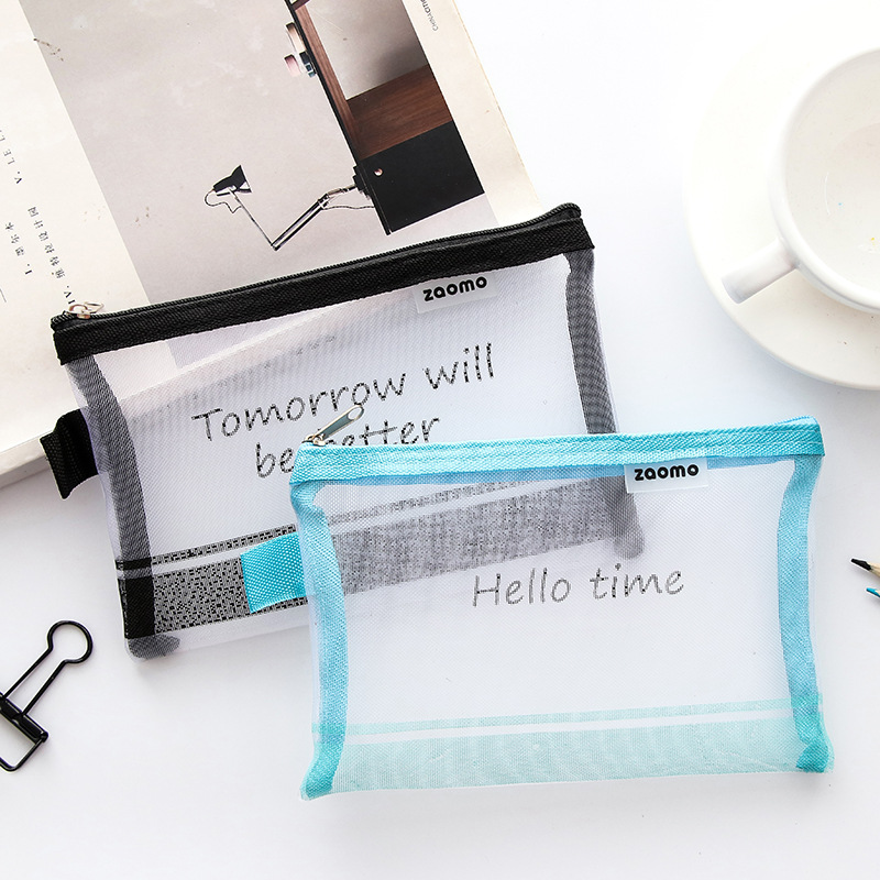 Creative English Nylon Gauze Document Bag File Folder Stationery Organizer