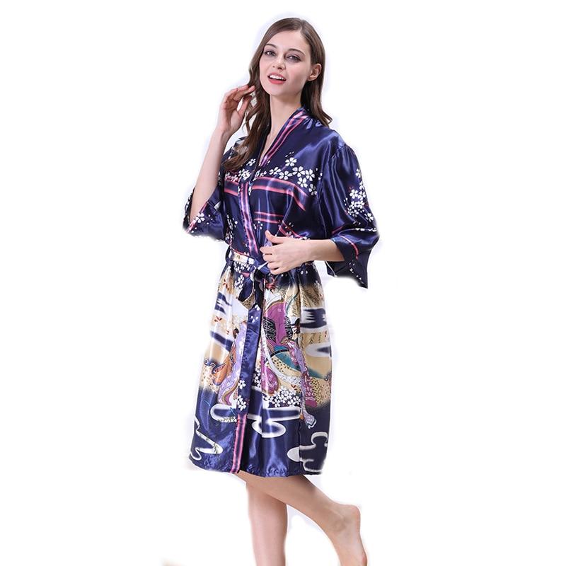 Print Satin Kimono font b Robe b font Sexy Chinese Silk Bathrobe Bridesmaid Floral Bath font