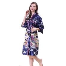 Imprimer Satin Kimono Robe Sexy Chinois Peignoir De Soie Demoiselle D'honneur Floral Peignoir Femme 2017 Nouveau WP350