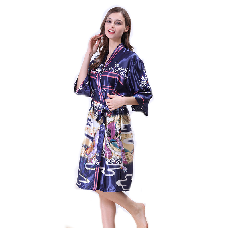 Print Satin Kimono Robe Sexy Chinese Silk Bathrobe Bridesmaid Floral Bath Robe Femme 2017 New WP350