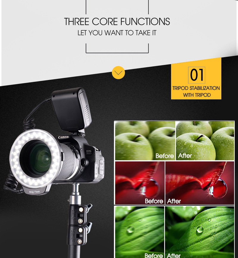 Travor RF 550D LED Macro Ring Flash light with 8 adapter ring For Nikon Canon Panasonic Camera 18