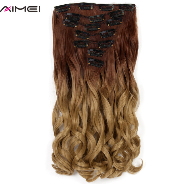 Aimei Synthetic Clip In Hair Extensions 20 7pcsset Full Head Long