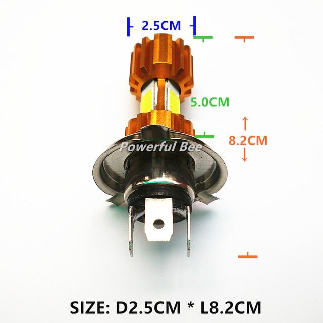 New 36W 3COB LED super white motorcycle car automobile headlight bulb H4/9003 H6/BA20D p15d AC/DC12-80V Hi/Lo beam headlamp