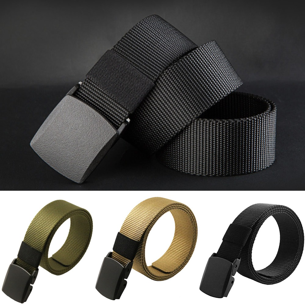 Fashion Men Canvas Belt Hypoallergenic Metal Plastic Automatic Buckle Belt Wild Drop ship #