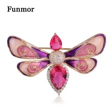 FUNMOR Enamel Pink CZ Zircon Butterfly Brooches Luxury Moth Insect Shape Scarf Buckle Women Men Copper Brooch Clothes Hijab Pins