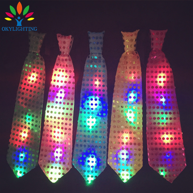 5pcs / lot vodio svjetleći vrat kravata Mixcolor treperi muško / - Za blagdane i zabave - Foto 6