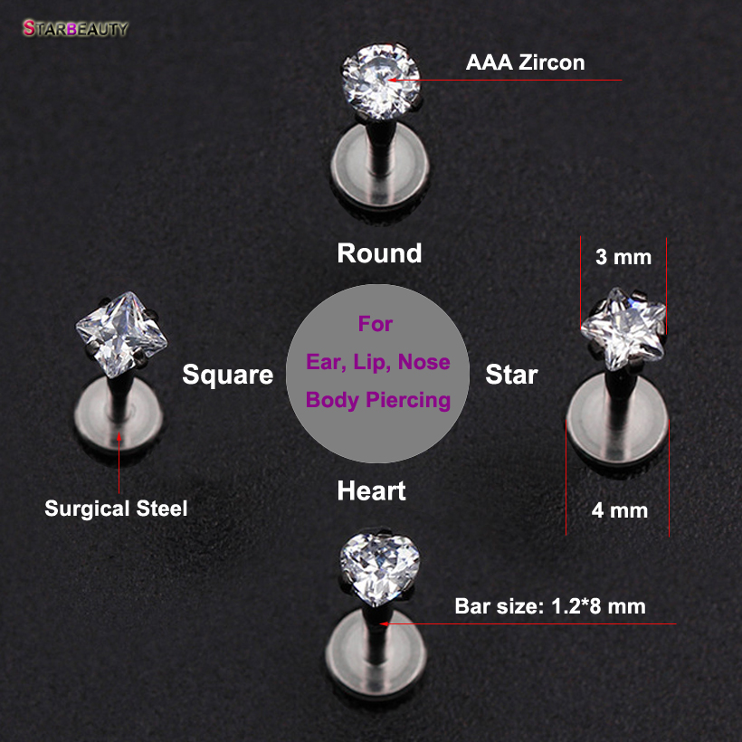 Top Fashion 100% Titanium G23 Daith Tragus Øre Lip Piercing Prong AAA Zircon Labret Brusk Gem Piercing 1.2 * 8mm Body Smykker