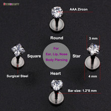 Top Fashion 100% Titanium G23 Daith Tragus Ear Lip Piercing Prong AAA Zircon Labret Cartilage Gem Piercing 1.2*8mm Body Jewelry(China)