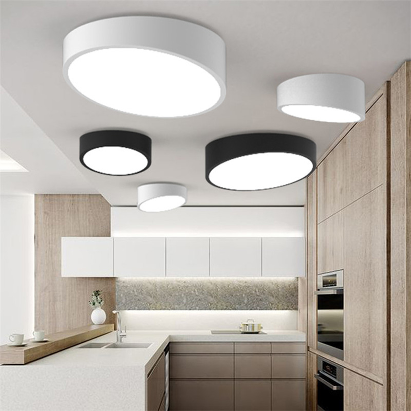 New Modern Geometry White Black Acrylic Led Ceiling Lamp Metal Flush Mount Light For Bedroom Living Room Lighting Fixture CL174 vemma acrylic minimalist modern led ceiling lamps kitchen bathroom bedroom balcony corridor lamp lighting study