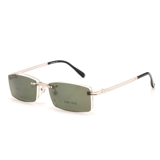 Clipe polarizada óculos de sol dos homens óculos armações sem aro espetáculo prescrição quadro eyeware multipurpose quadrado 9092