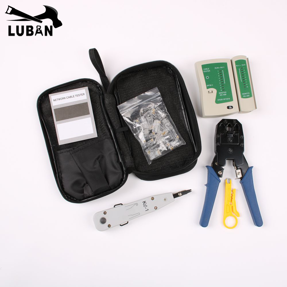 LUBAN Network Ethernet Cable Tester RJ45 Kit Crimping Tool Network Computer Maintenance Repair Tool Kit Cable Tester Cross/Flat