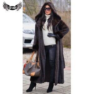 Image 1 - BFFUR 2020 New Arrival Real Mink Fur Coat Winter Warm Outerwear 120cm Long Genuine Mink Fur Jackets With Hood Warm Coats Woman