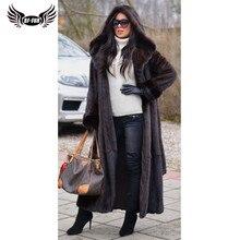 BFFUR 2020 yeni varış gerçek vizon kürk ceket kış sıcak giyim 120cm uzun hakiki vizon kürk ceketler ile kaput sıcak palto kadın
