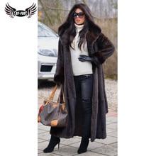 BFFUR 2020 جديد وصول ريال فرو المنك معطف الشتاء الدافئة ملابس خارجية 120 سنتيمتر طويل حقيقي فرو المنك جاكيتات مع هود الدافئة معاطف امرأة