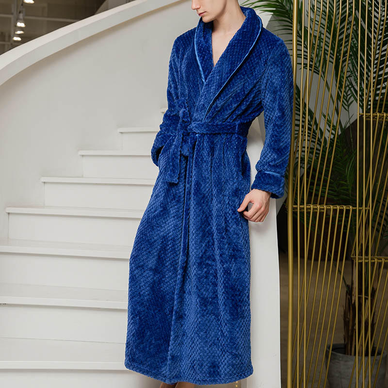 Thick Robe Men 100% Flannel Bathrobe Hooded warm Autumn Winter Dressing  Gown Long Robe Wedding Bridesmaid Robe white Grey Color-in Robes from  Underwear ... d44474364